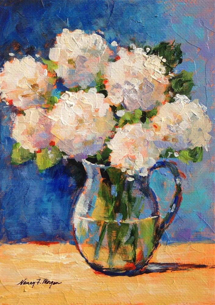 """White Hydrangeas"" original fine art by Nancy F. Morgan"