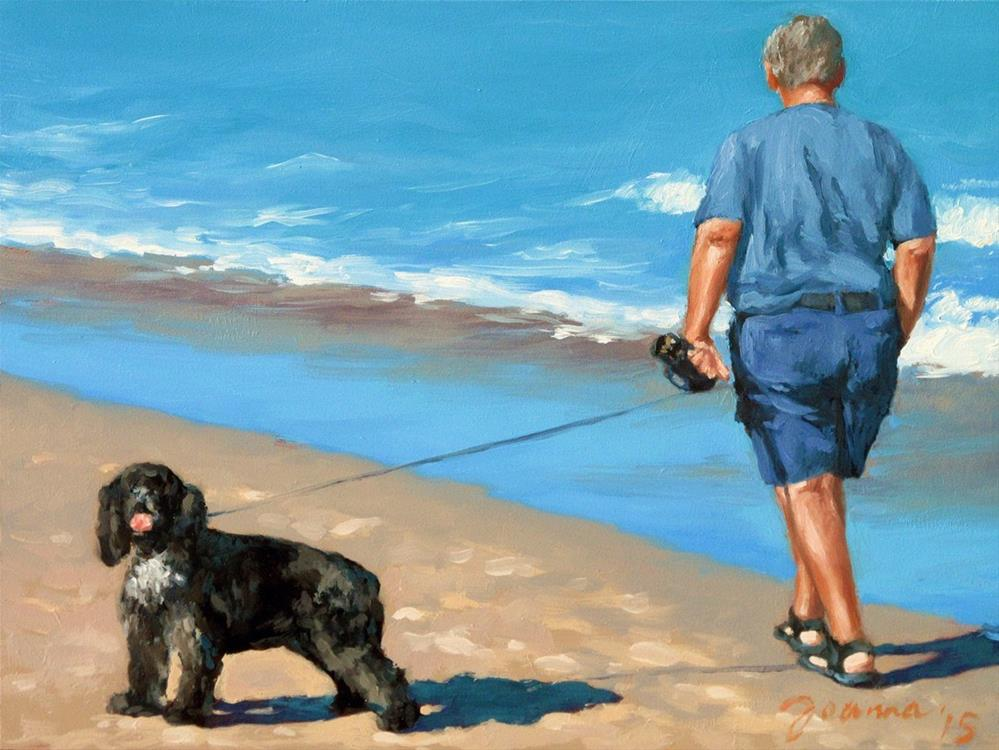 """""""Hello...Goodbye -- Series Painting of Dogs & Owners on the Beach"""" original fine art by Joanna Bingham"""