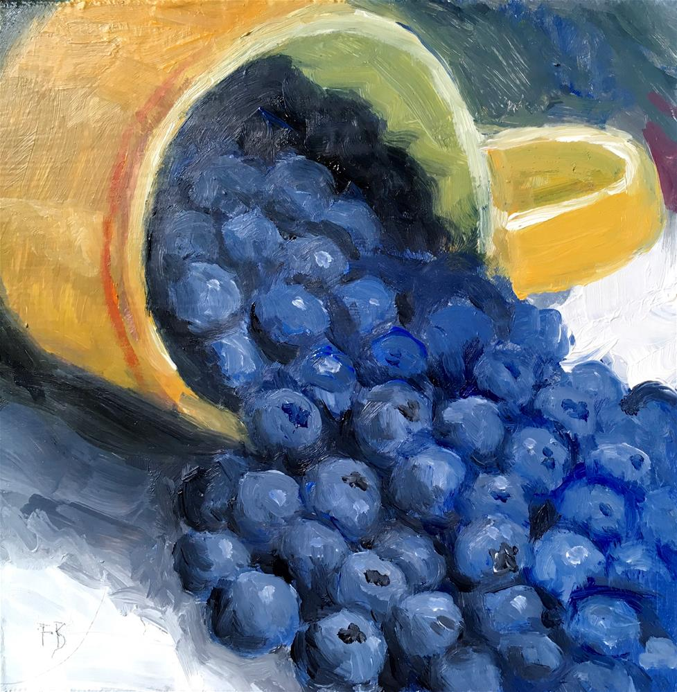 """046  Blueberries, Daily Painting Ritual, 6x6"" original fine art by Fred Bell"