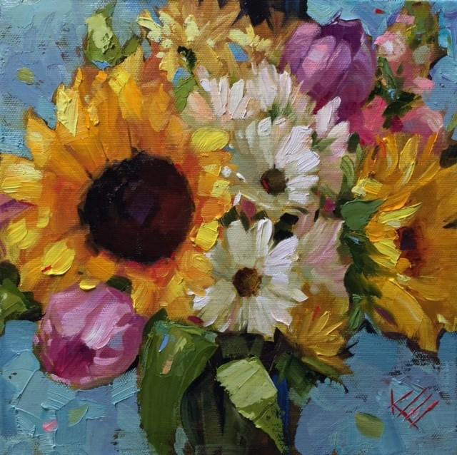 """Sunflowers & Daisies"" original fine art by Krista Eaton"