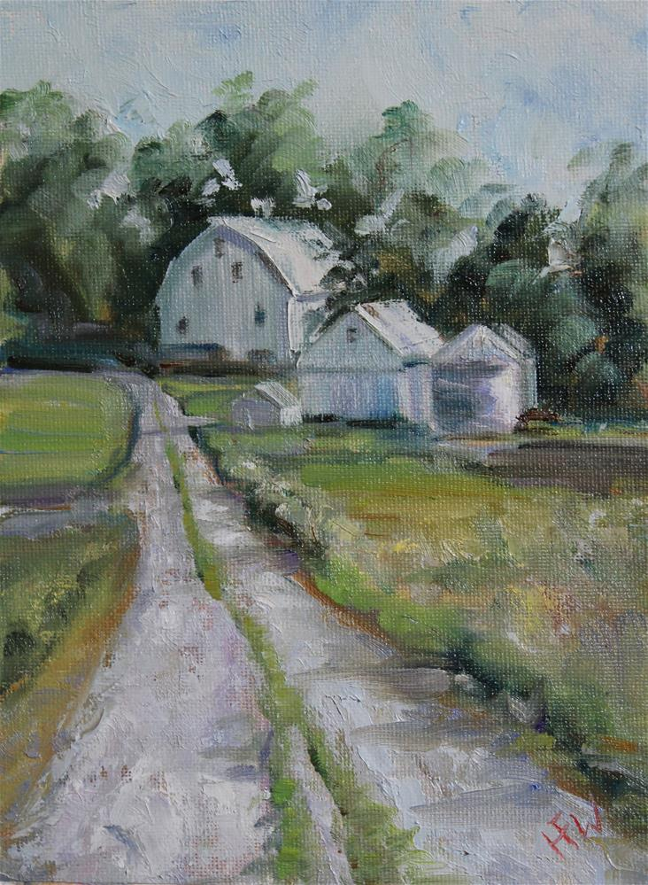 """White Barn"" original fine art by H.F. Wallen"