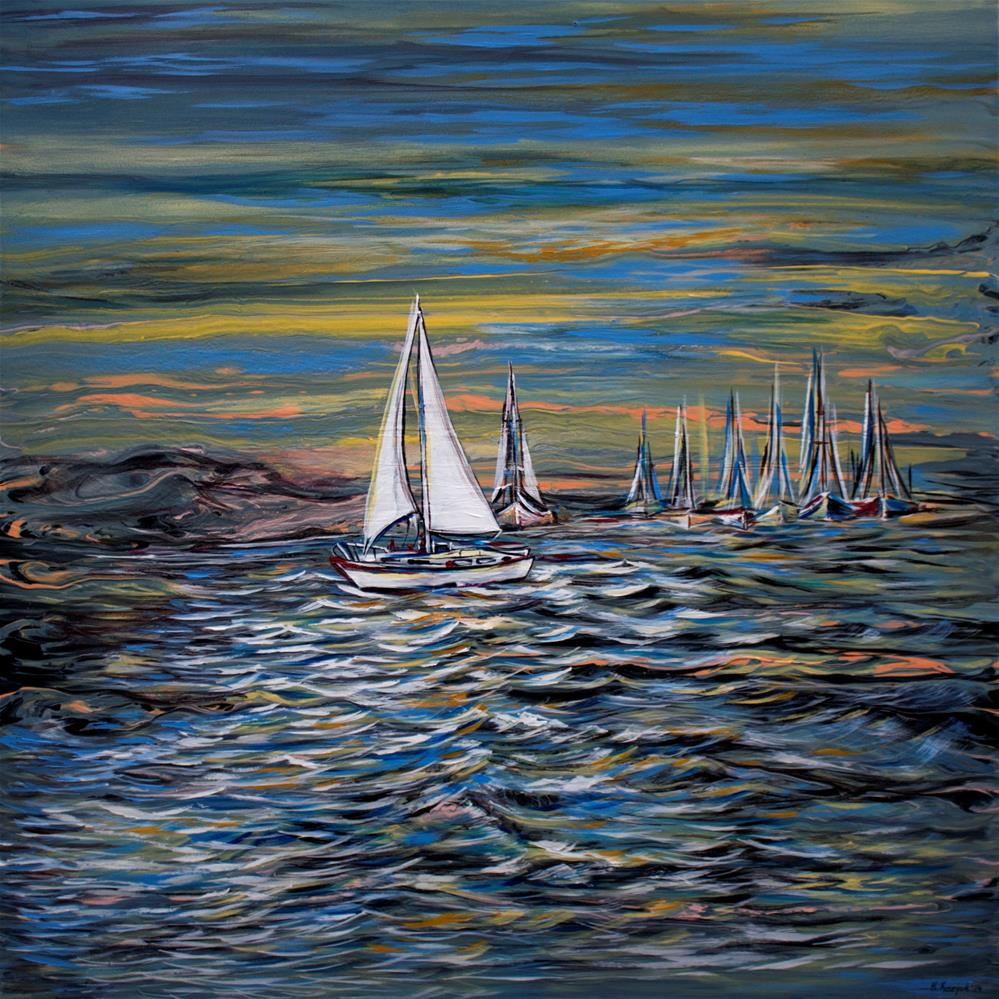 """""""Yacht on Lake"""" original fine art by Khrystyna Kozyuk"""