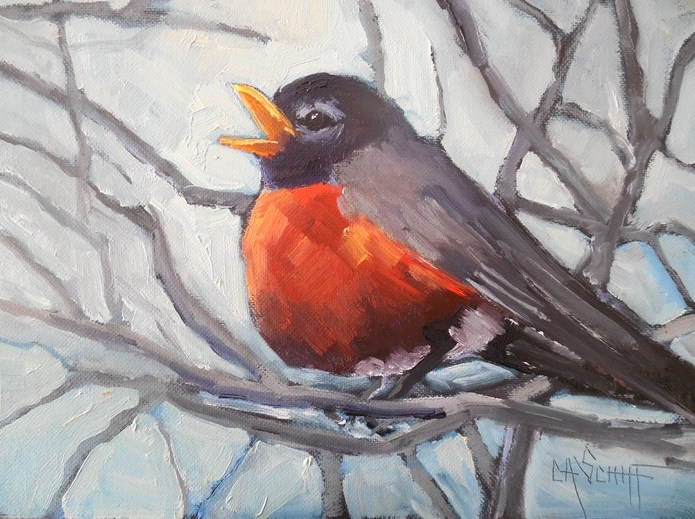 """Daily Painting, Small Oil Painting, Wildlife Painting, Bird Art, 6x8 Robin in Oil"" original fine art by Carol Schiff"