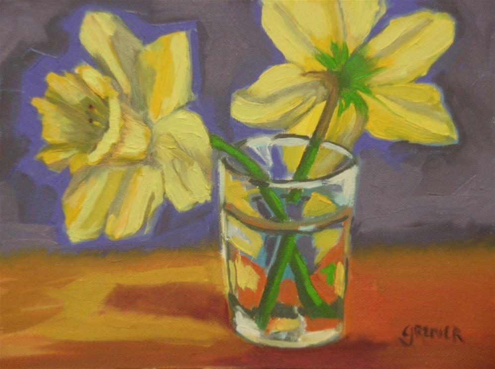 """""""Little flowers in a Vase"""" original fine art by jean grenier"""