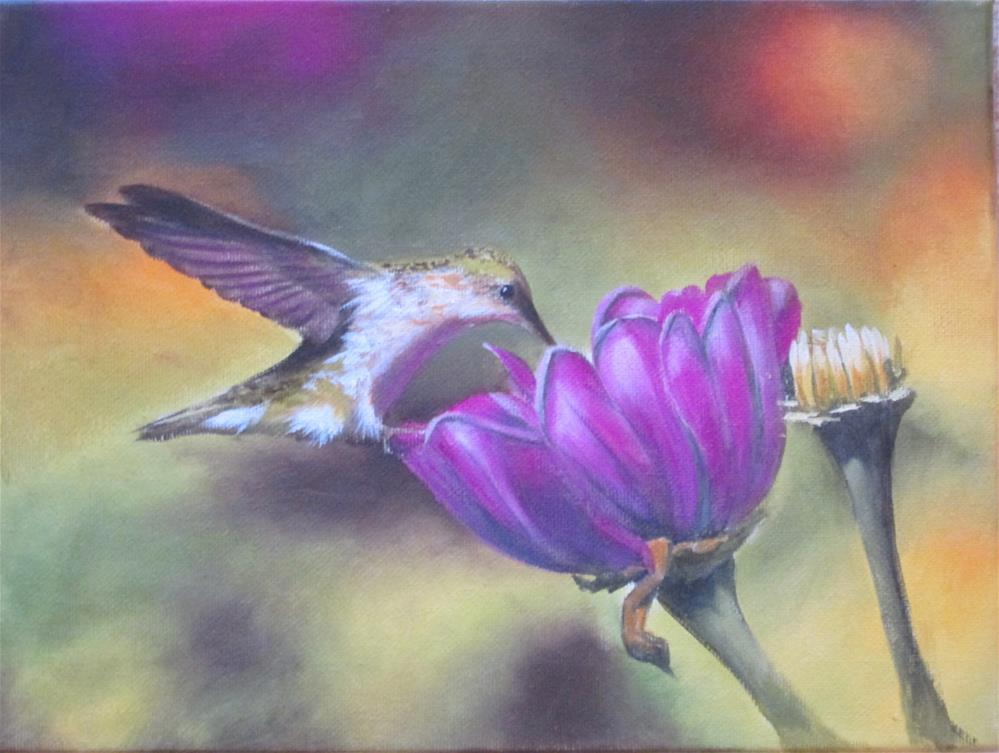 """Hummingbird and Fuchsia"" original fine art by Barbara Wagner"