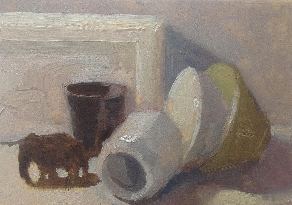 """Still life with a little elephant"" original fine art by Christine Bayle"