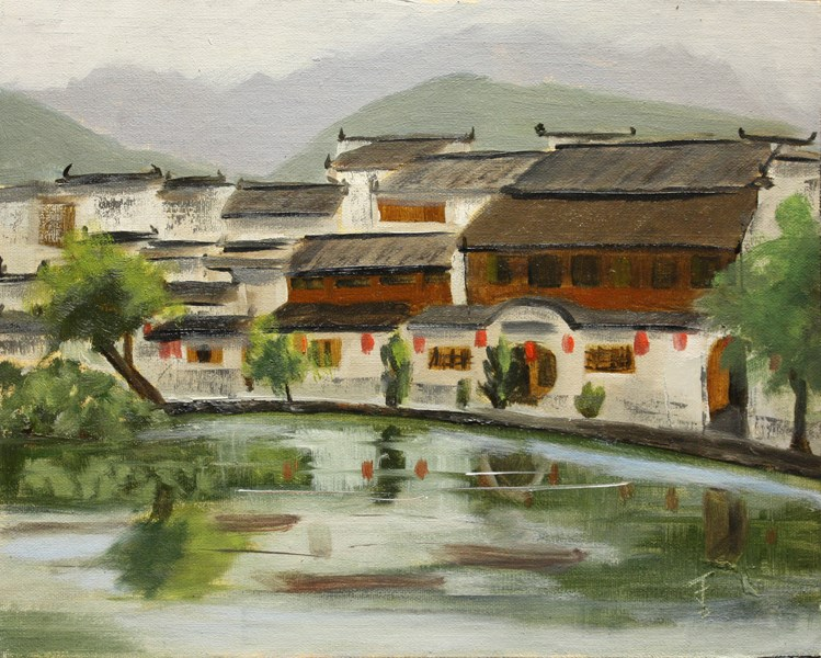 """Hongcun Village"" original fine art by Jane Frederick"