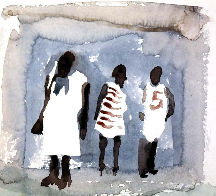 """1277 People in Watercolor"" original fine art by Dietmar Stiller"