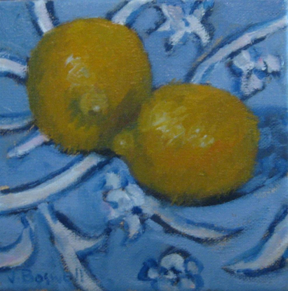 """Lemons on Tablecloth"" original fine art by Jennifer Boswell"