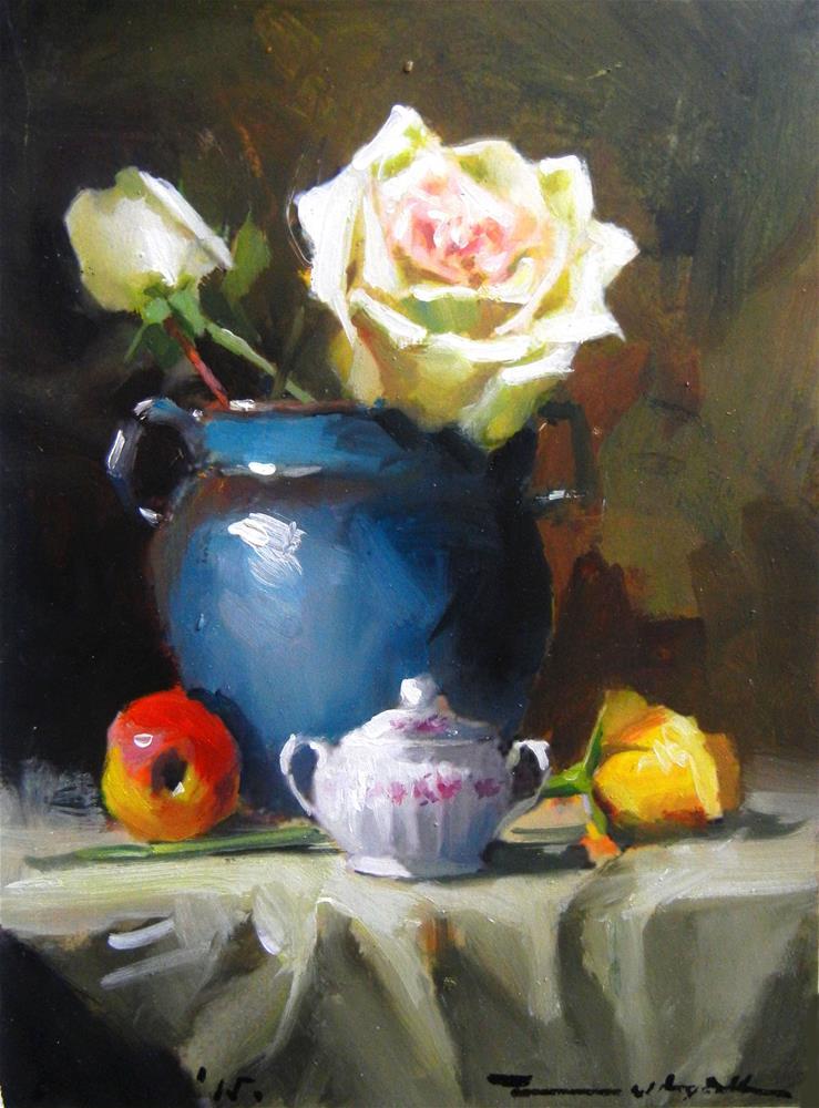 """Blue vase and white rose"" original fine art by Dragan Culjak"