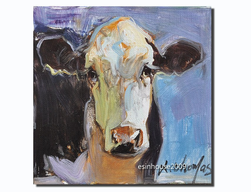 """6X6Farm animals Cow Original Oil HIGHLAND Painting the artist signed ART"" original fine art by Thomas Xie"