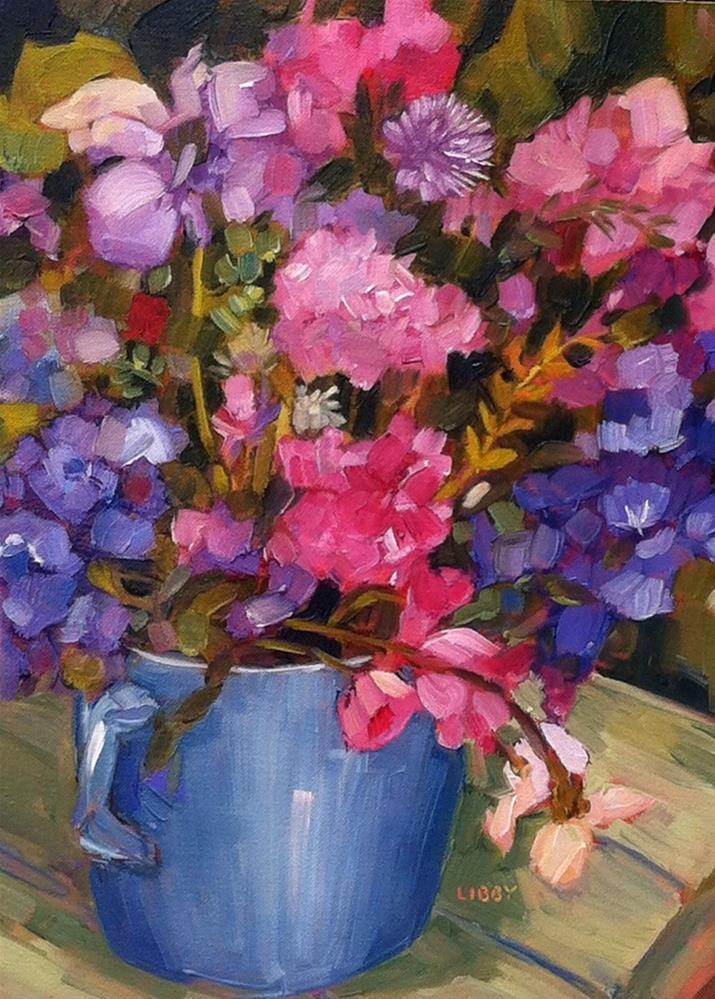 """Blue Cup of Flowers"" original fine art by Libby Anderson"
