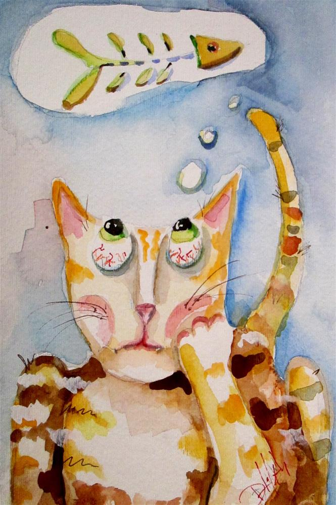 """Cat Dreams"" original fine art by Delilah Smith"