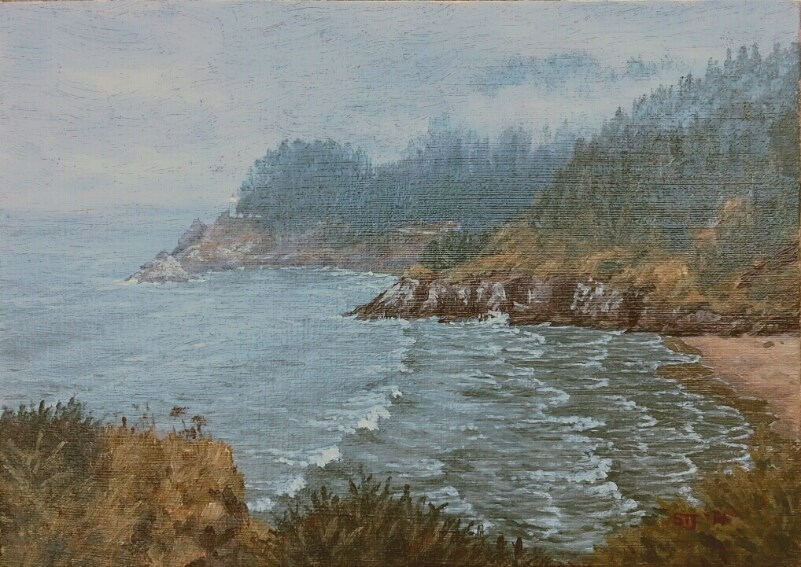 """Mist Rising over Heceta Head Light (Oregon Coast)"" original fine art by Steven Thor Johanneson"