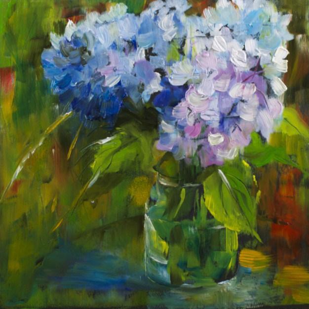 """July Hydrangea Study"" original fine art by Sue Churchgrant"