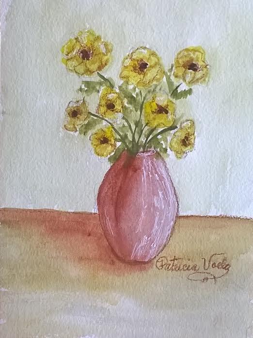 """Pink Vase"" original fine art by Patricia Voelz"