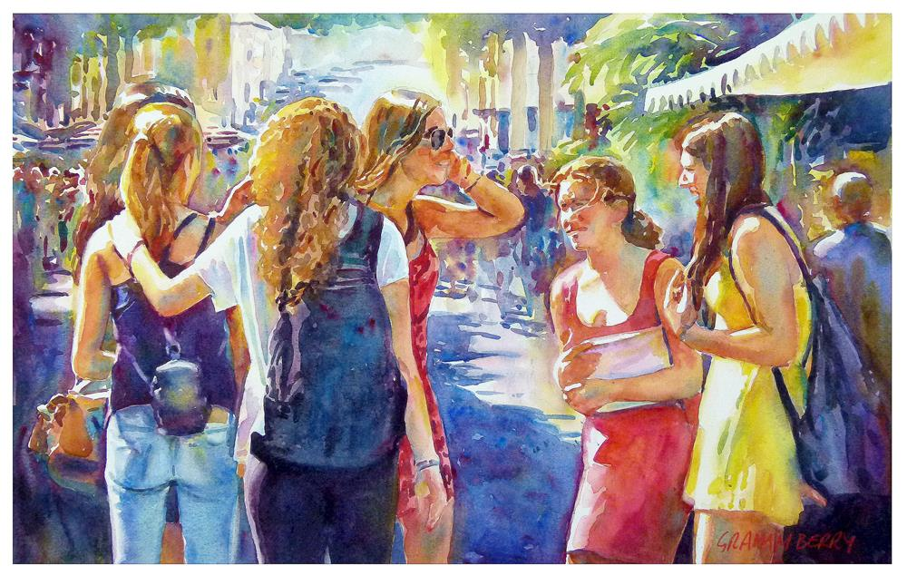 """Girls"" original fine art by Graham Berry"