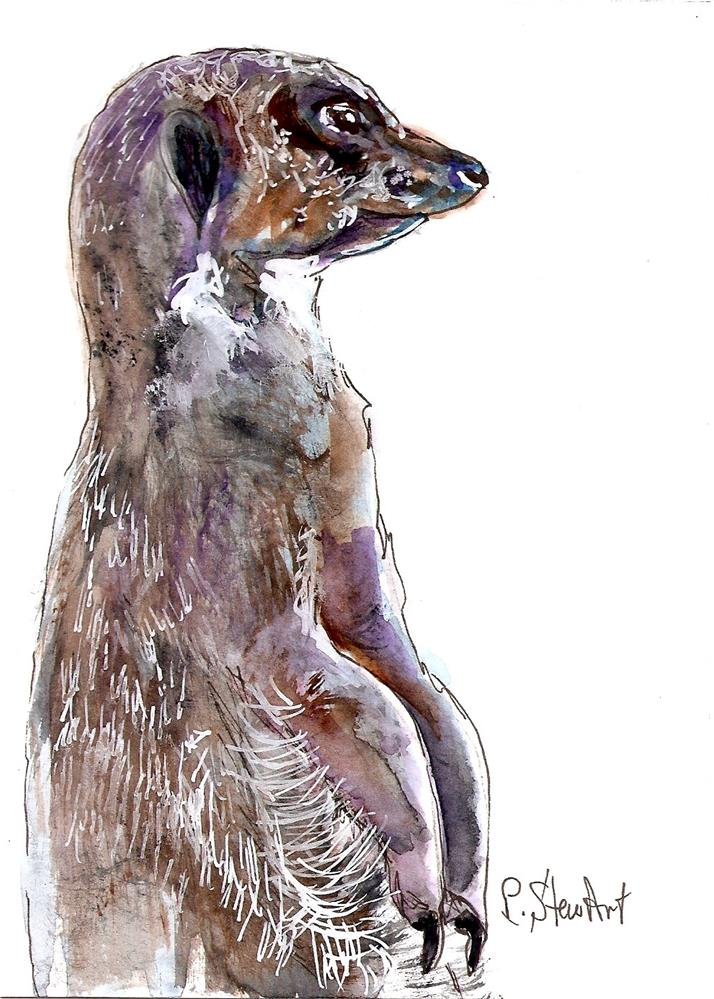 """5x7 Meerkat Watercolor, Pen and Ink Illustration by Penny Lee StewArt"" original fine art by Penny Lee StewArt"