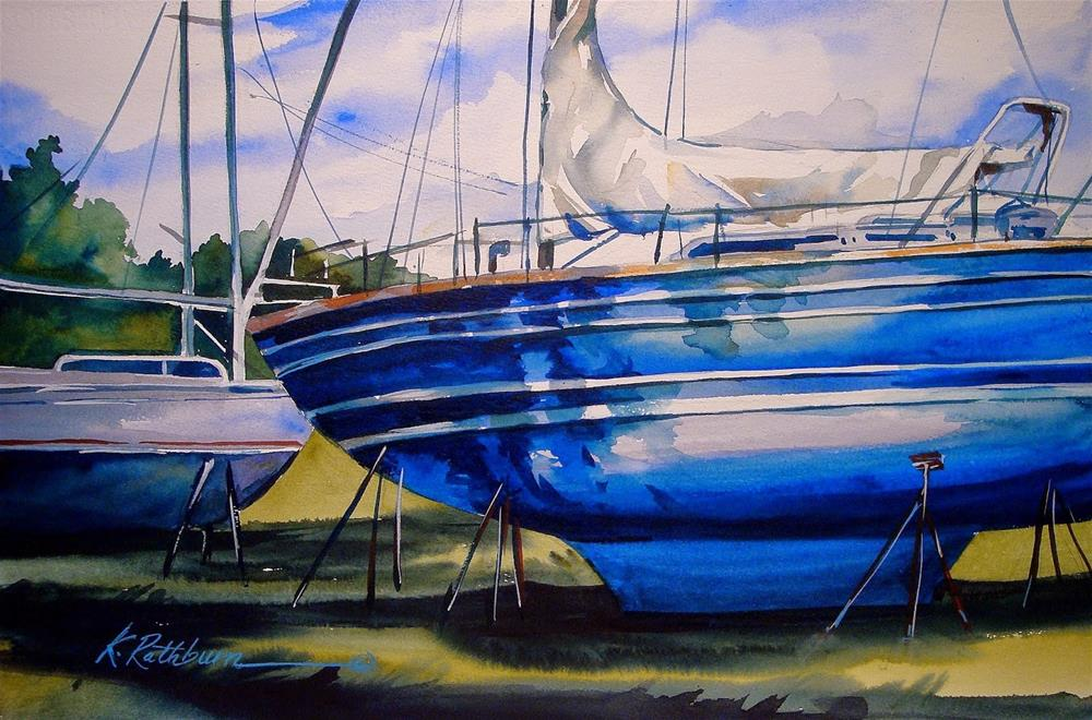 """Sailboat Blues"" original fine art by Kathy Los-Rathburn"