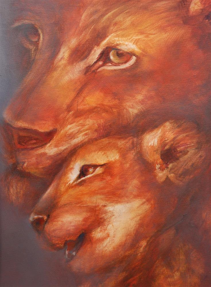 """Lioness with cub"" original fine art by Olga Touboltseva-Lefort"