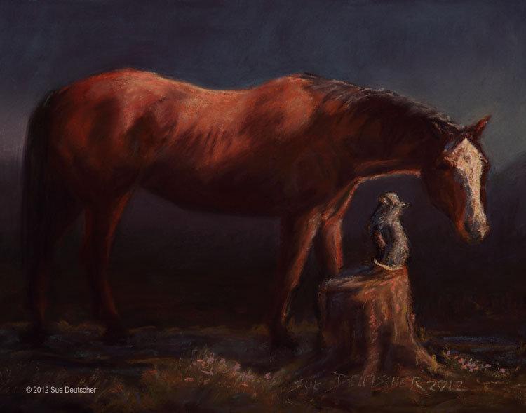 """A Horse and His Cat"" original fine art by Sue Deutscher"