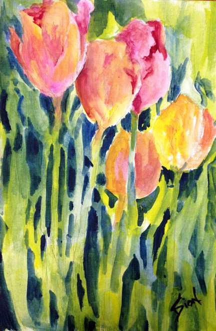 """Tulips 2"" original fine art by Sue Dion"
