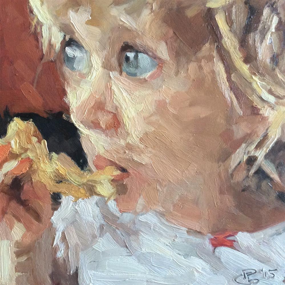 """Meri at tea"" original fine art by Paula Howson-Green"