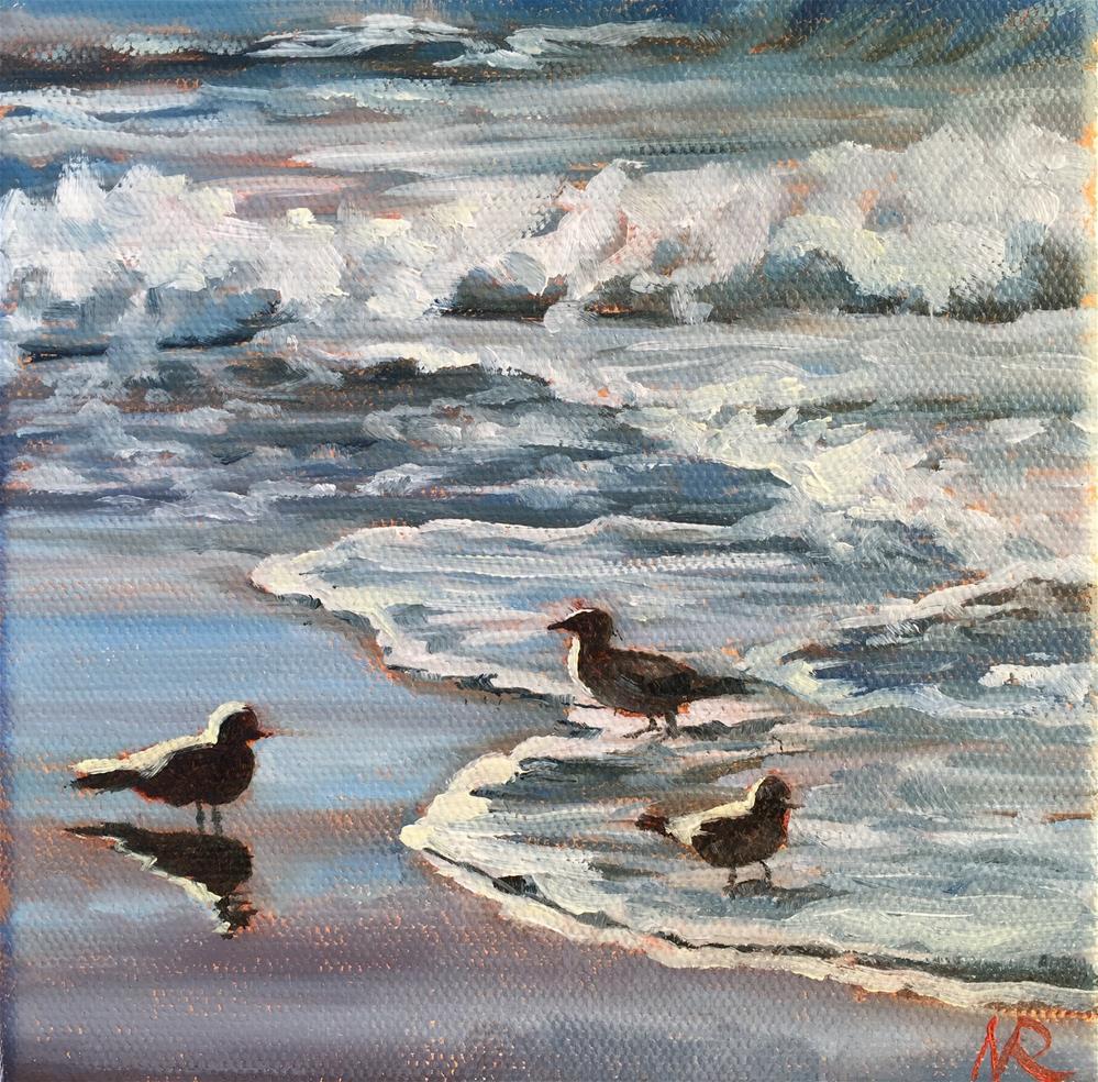 """Seagulls"" original fine art by Natasha Ramras"