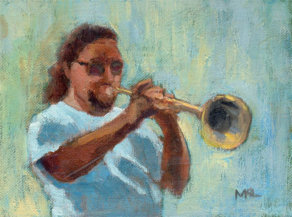 """The Trumpet Man 2014"" original fine art by Marlene Lee"