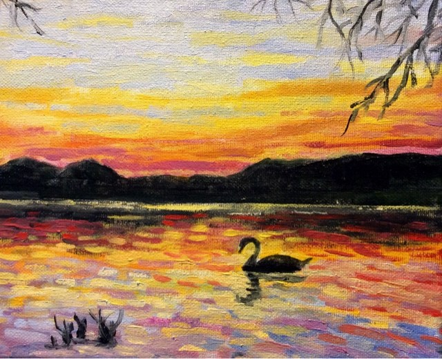 """""""Swan on the lake at sunset"""" original fine art by Hilary J. England"""