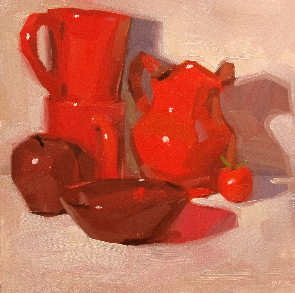 """For the Love of Red"" original fine art by Carol Marine"