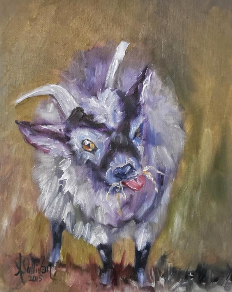 """Muncheon Luncheon goat painting by Alabama Artist Angela Sullivan"" original fine art by Angela Sullivan"