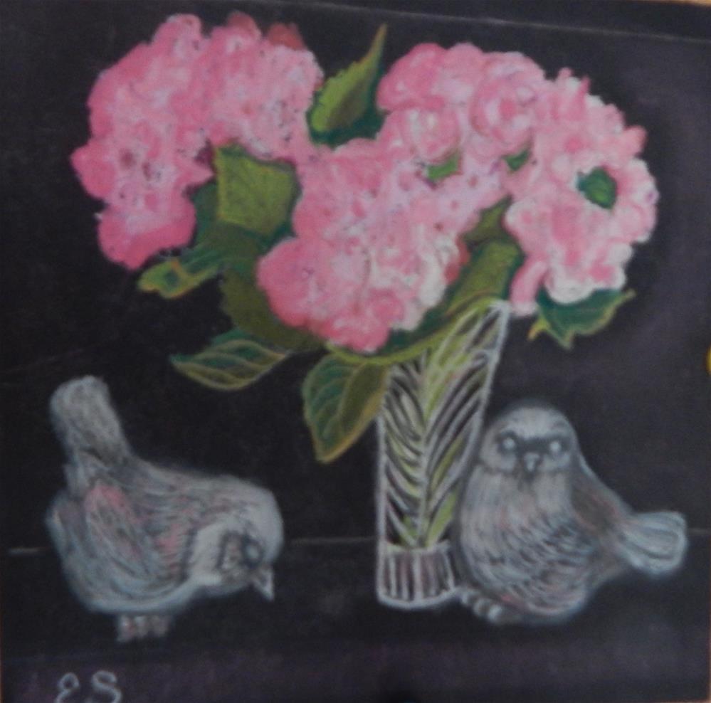 """Pink Hydrangeas with Silver Birds"" original fine art by Elaine Shortall"