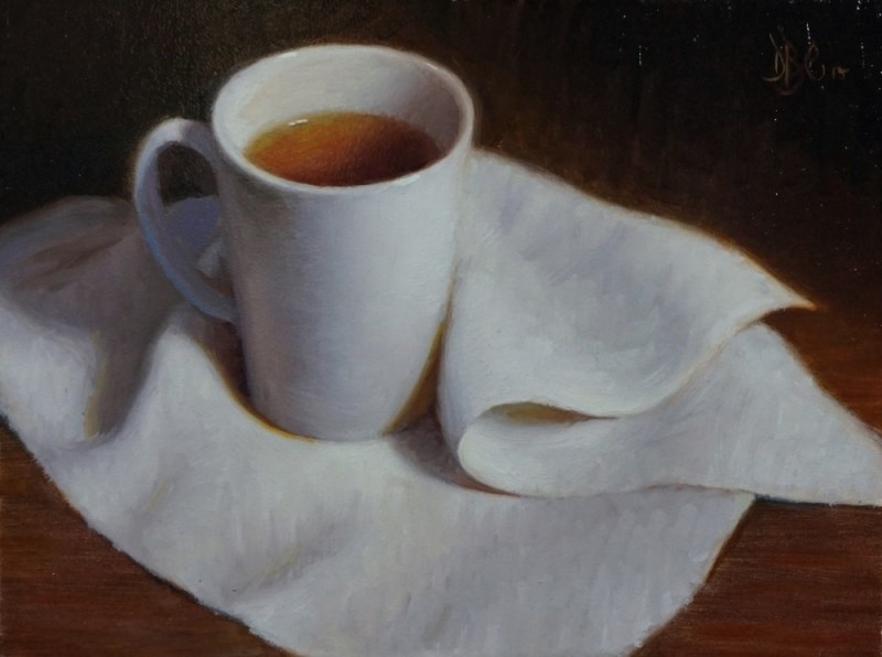 """Tea and Whlite Cloth"" original fine art by Debra Becks Cooper"
