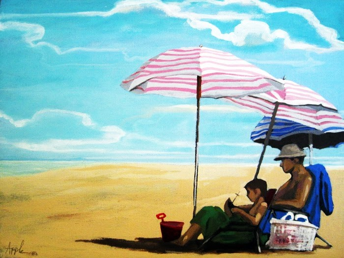 """Father & Son beach figurative scene"" original fine art by Linda Apple"