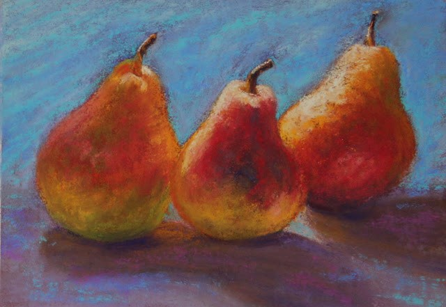 """Pear Trio"" original fine art by Sharon Lewis"