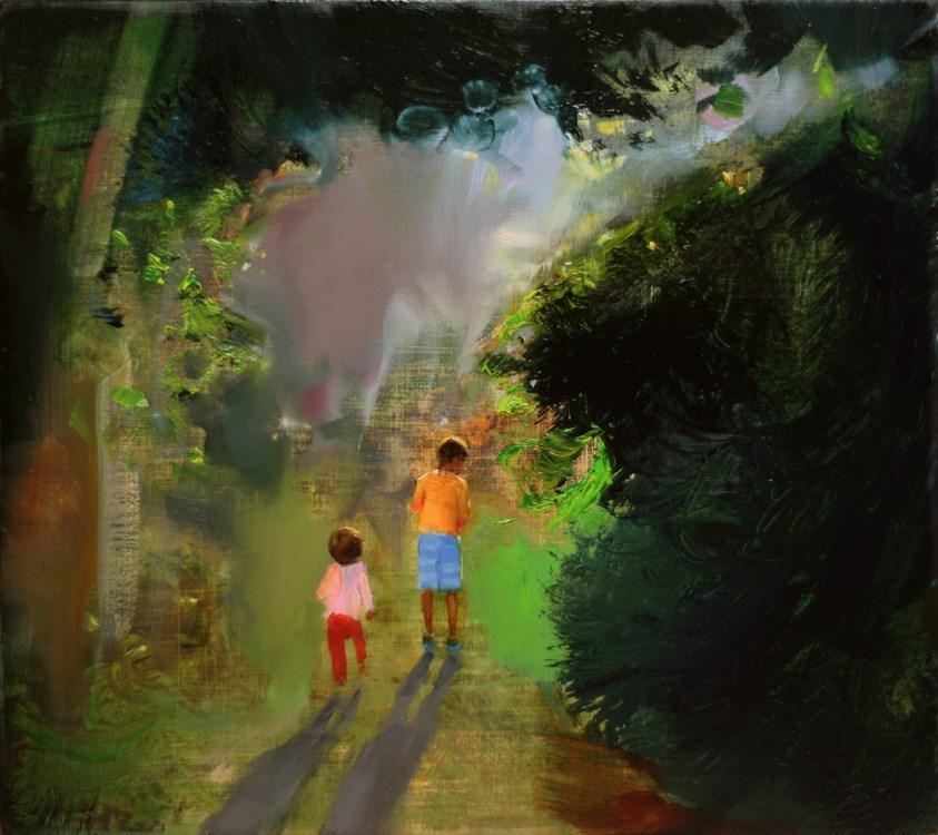"""Green morning"" original fine art by Eszter Szicso"