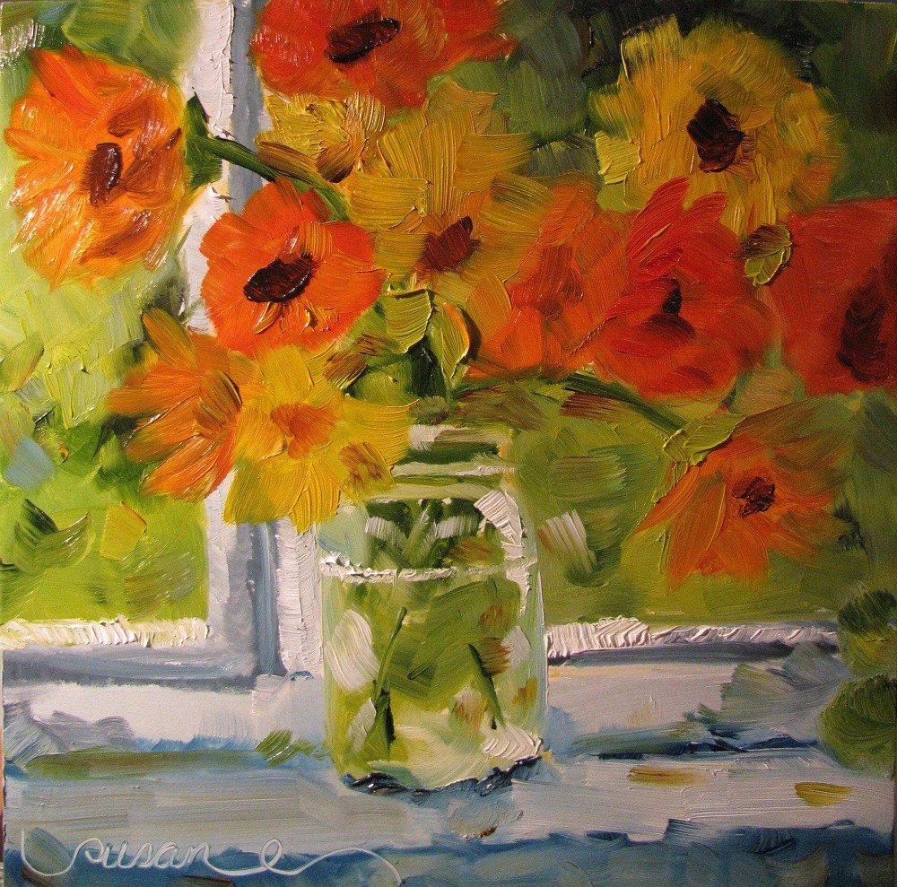 """Momma's Cosmos"" original fine art by Susan Elizabeth Jones"