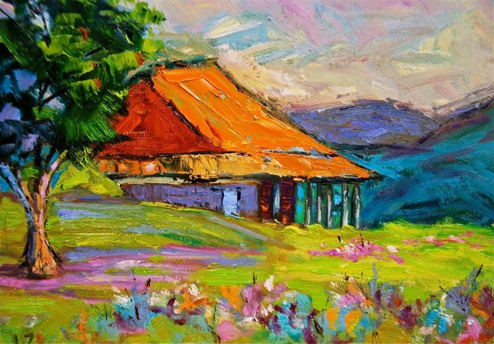 """Texas Barn"" original fine art by Liz Zornes"