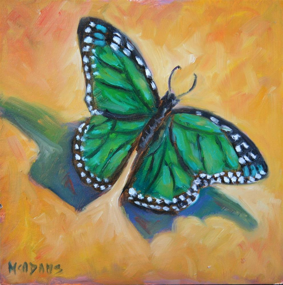 """Green Butterfly"" original fine art by Phyllis McAdams"