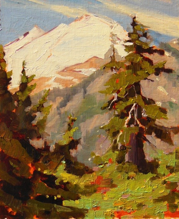 """Mount Baker  plein air, landscape painting by Robin Weiss and news of upcoming shows!"" original fine art by Robin Weiss"