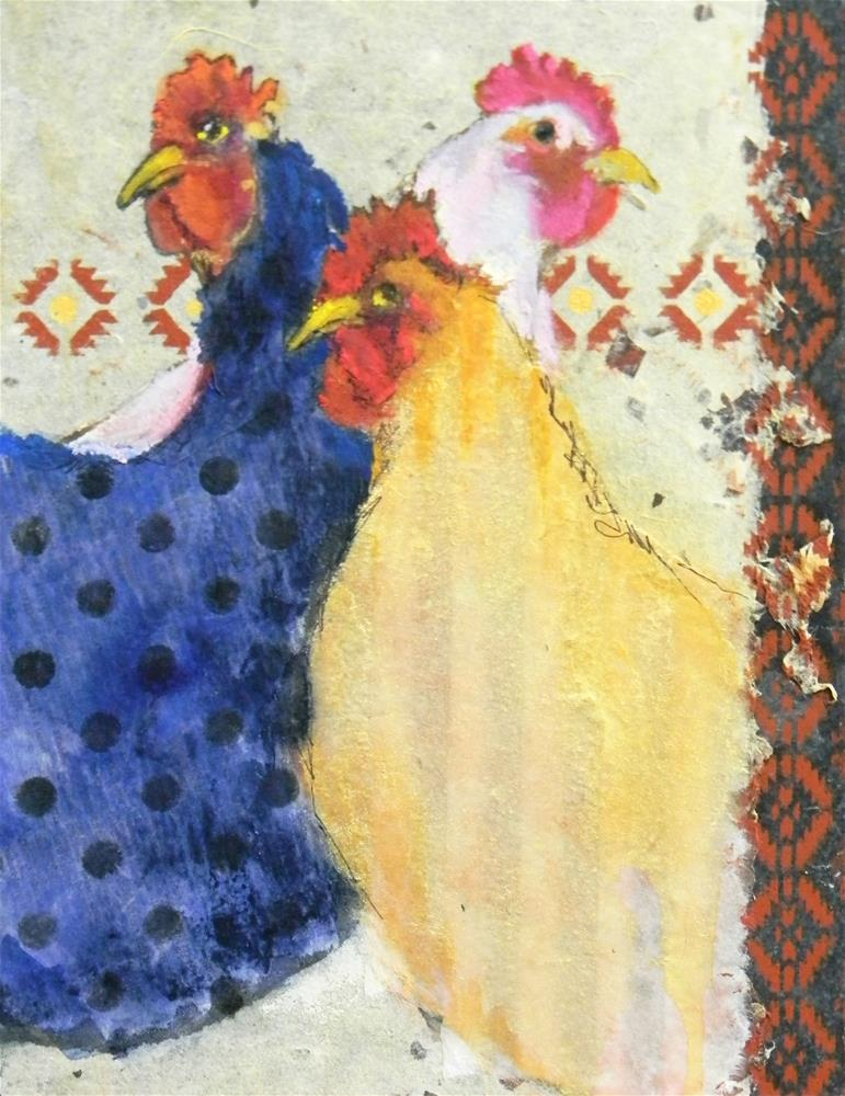 """3 French Hens"" original fine art by De Selby"