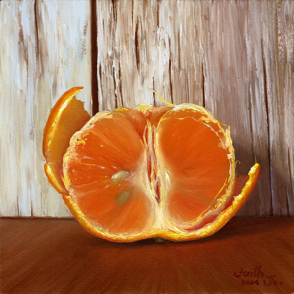 """Tangerine Half with Peel"" original fine art by Faith Te"
