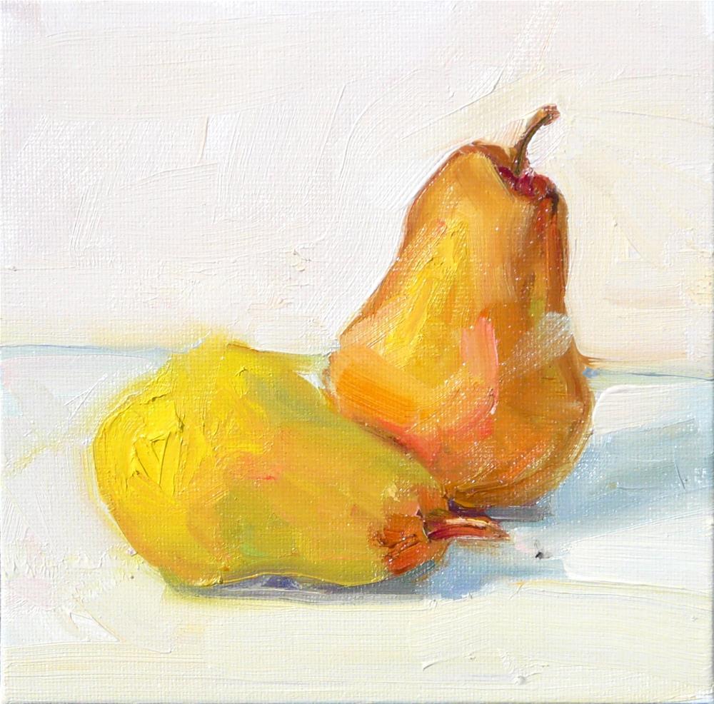 """Last of the Bartlett Pears,still life,oil on canvas,6x6,price$200"" original fine art by Joy Olney"