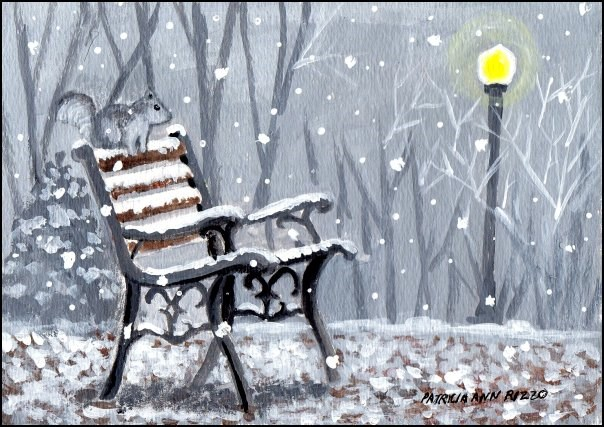 """A Snowy Day in the Park"" original fine art by Patricia Ann Rizzo"