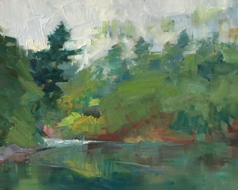 """Umpqua Misty Green Morning"" original fine art by Patti McNutt"