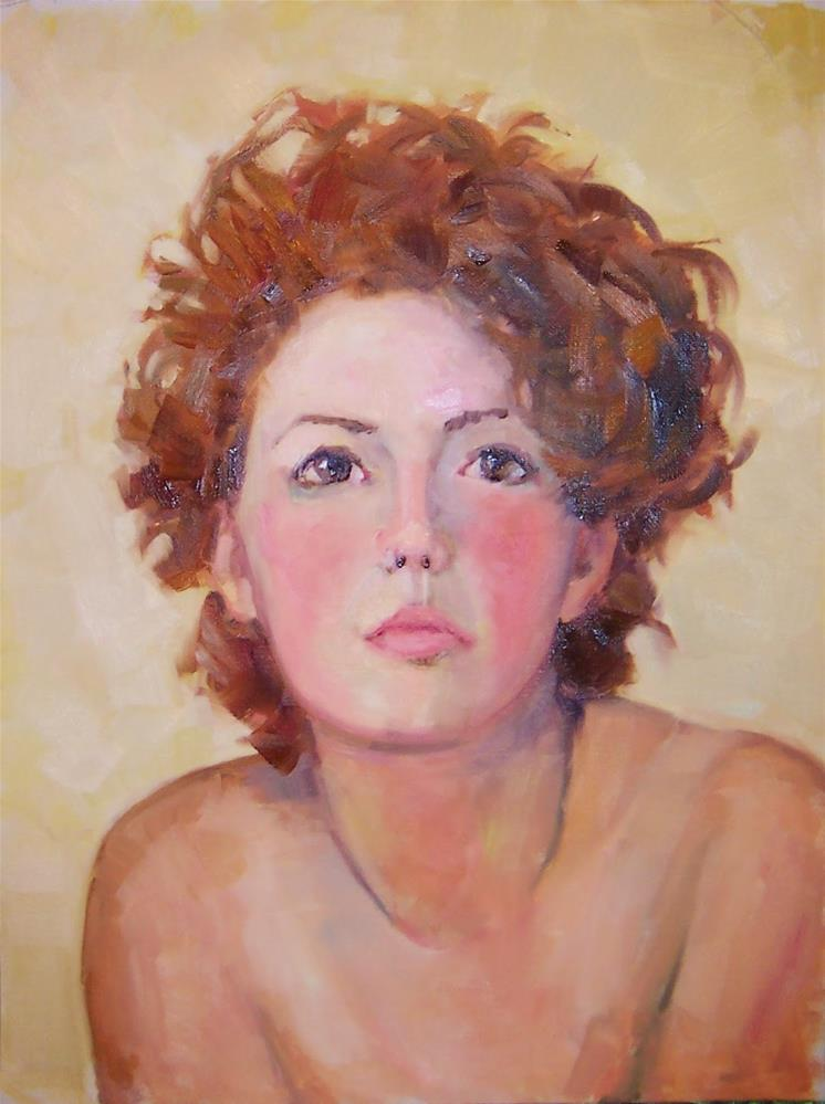 """Melanie second painting,Portrait,oil on canvas pad,16x12,PriceNFS"" original fine art by Joy Olney"
