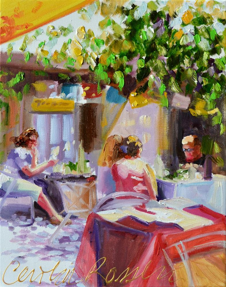 """CARMEL CAFE"" original fine art by Cecilia Rosslee"