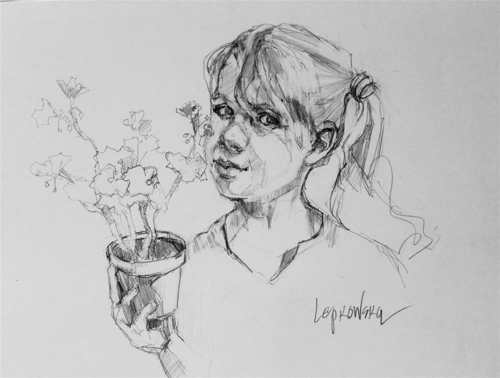 """""""The Gardener"""" original fine art by Laurie Johnson Lepkowska"""