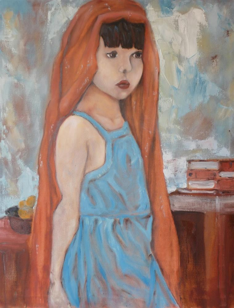 """""""Girl with Red Scarf"""" original fine art by Peter Wellington"""
